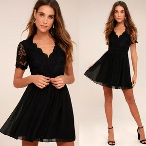 Angel in Disguise Black Skater Dress Small LuLus